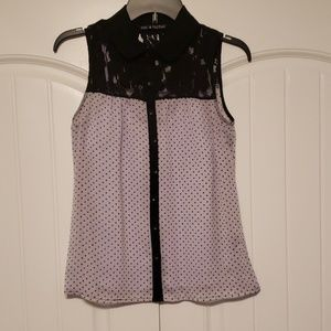 zac & rachel black and purple button down top